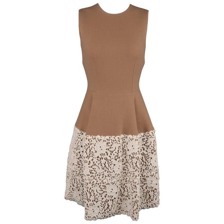 DOLCE & GABBANA Size 6 Camel Stretch Wool Cream Lace Skirt Cocktail Dress