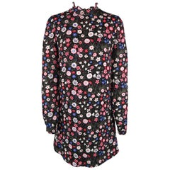 Valentino Black and Pink Floral Silk Ruffle Collar Tunic Dress