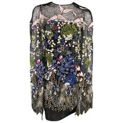 Valentino Landscape Embroidered Cape Sleeve Macrame Cape Dress