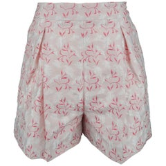 Giambattista Valli Pink Silk Blend Floral Jacquard Pleated Shorts