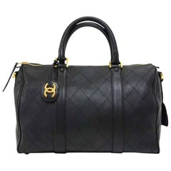 Vintage Chanel Boston Black Lambskin Quilted Duffle Bag