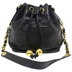 Vintage Chanel Black Lambskin Drawstring Bucket Bag + pouch