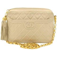 Vintage Chanel Beige Quilted Lambskin Leather Tassel Chain Shoulder Bag