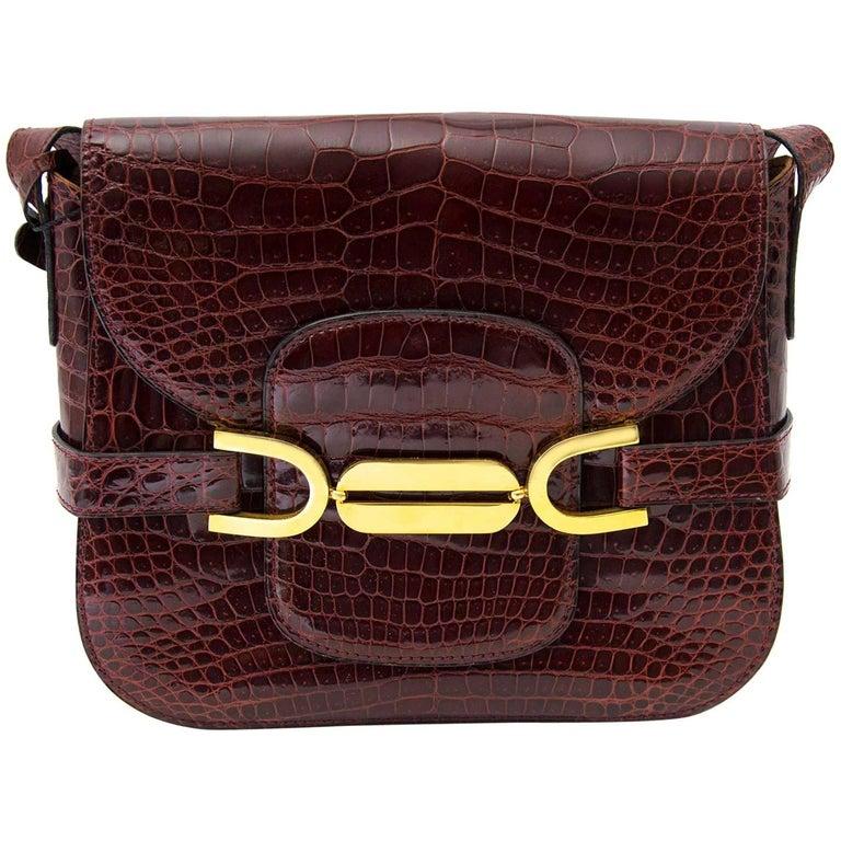 Delvaux Vintage Bordeaux Croco Leather Bag