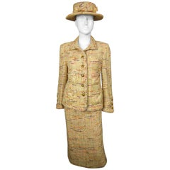 Chanel Haute Couture skirt and jacket suit numbered 02554 and 02555, Circa 1979