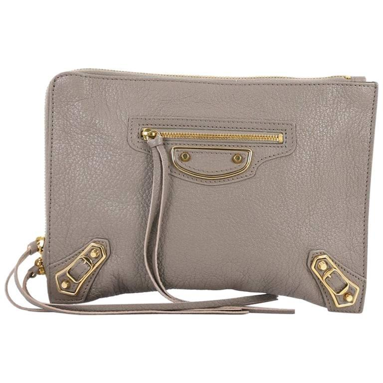 1stdibs Burberry Leather Xl Studded Clutch - Dark Brown