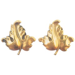 1940s Joseff of Hollywood Golden Leaf Earrings