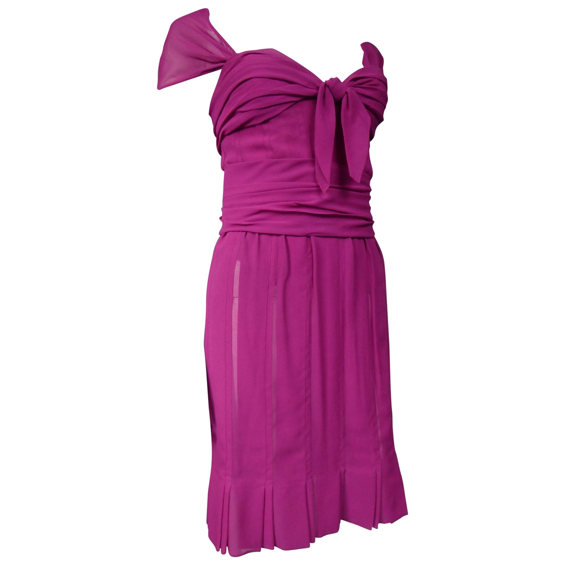 Christian Dior Haute Couture in pink chiffon silk dress, Circa 1989 - 1990