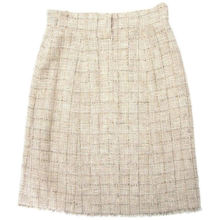 Chanel Beige Tweed Midi Skirt - Size 40 (FR)