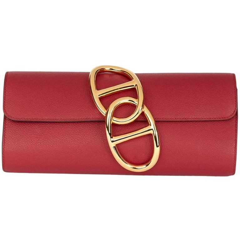 Hermes Rouge Grenat Evergrain Leather Egee Clutch