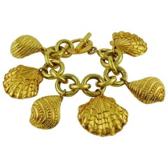 Celine Paris Vintage 1992 Gold Toned Sea Life Charms Bracelet