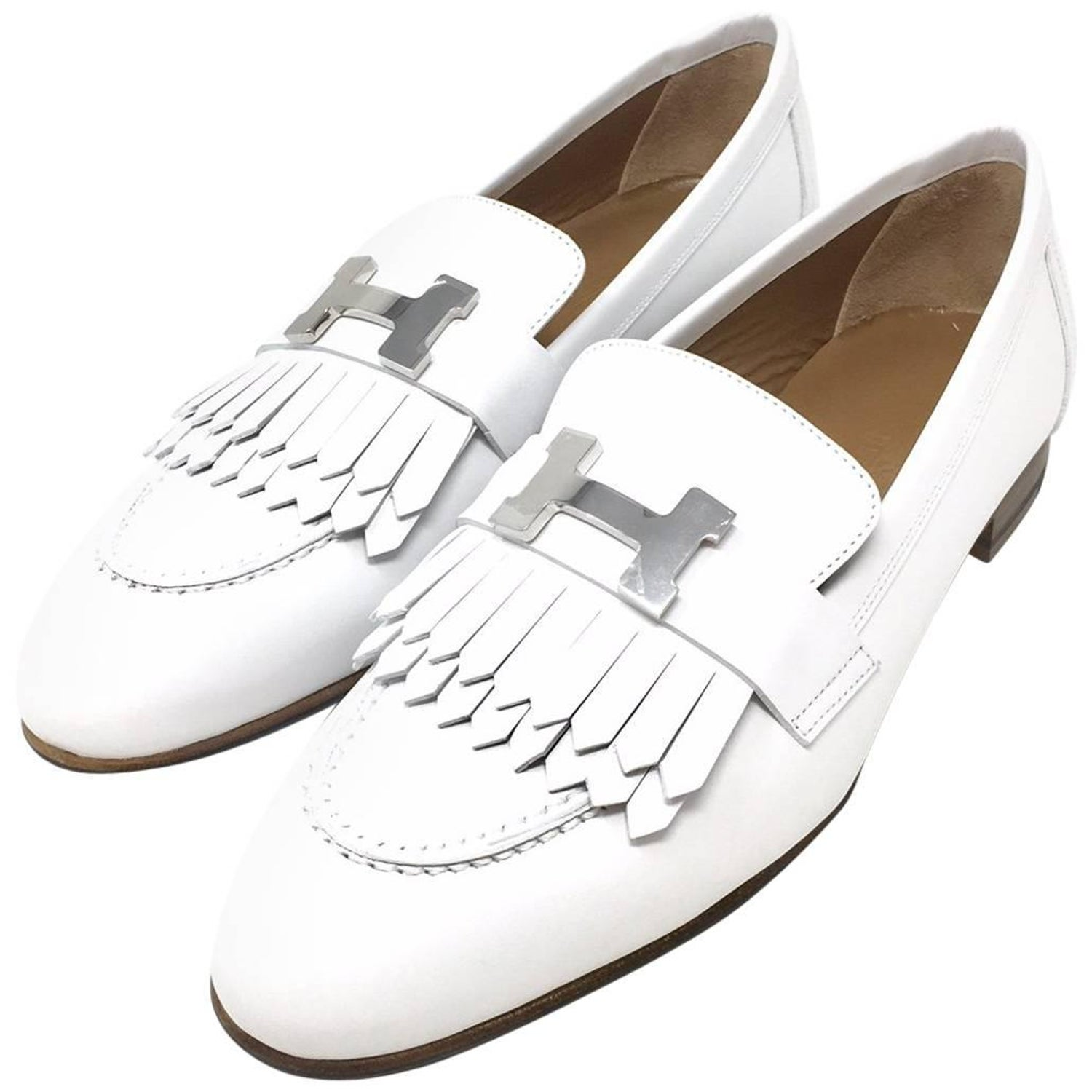 1038c8a7665 Hermes Paris Royal Loafer Shoes Calfskin Colour White Palladium-Plated H  Buckle at 1stdibs
