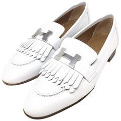 Hermes Paris Royal Loafer Shoes Calfskin Colour White Palladium-Plated H Buckle