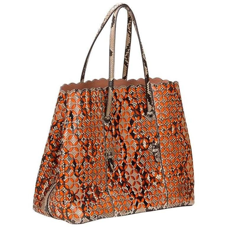 Alaia Python Leather & Orange Calfskin Leather Perforated Shopper