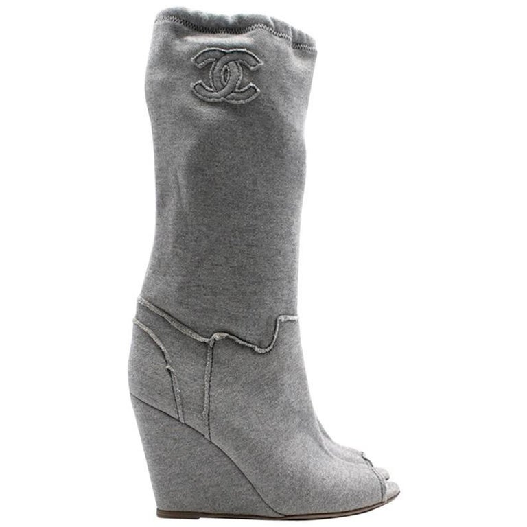 Chanel Grey Jersey Peep toe Boots