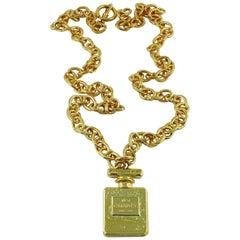 Chanel Vintage Gold Toned N°5 Perfume Bottle Pendant Necklace