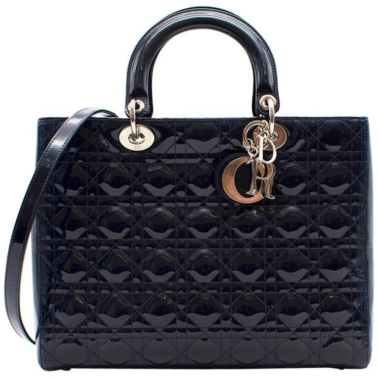 Dior Large Navy Patent Lady Dior Bag For Sale at 1stdibs 2cd473477291b