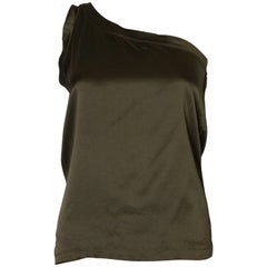 A Vintage 1990s olive green one shoulder silk top  by Yves Saint Laurent