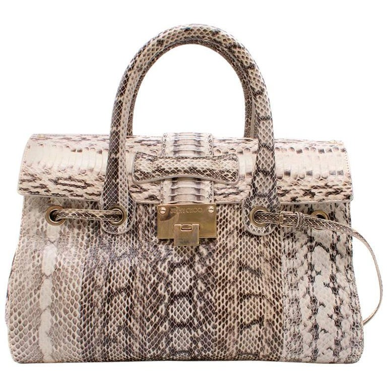 Jimmy Choo Cream and Grey Python Top Handle/Shoulder Bag