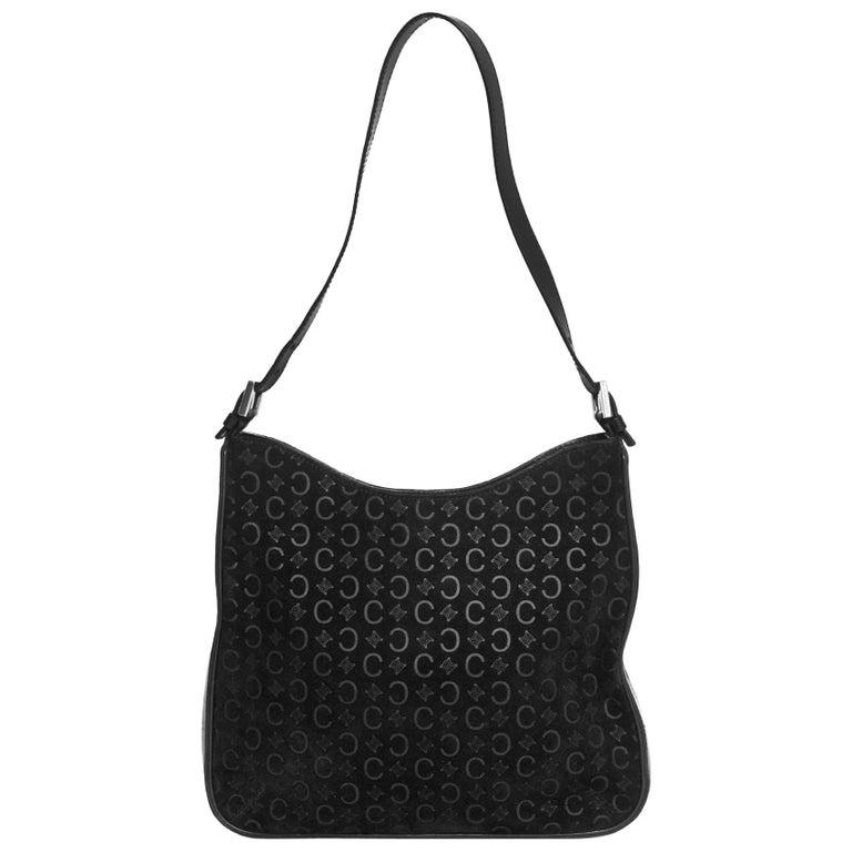 Celine Black Suede Embossed C Logo Shoulder Bag