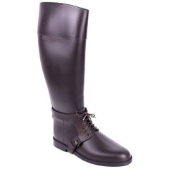 Givenchy Brown Rubber Equestrian Lace Up Rain Boots
