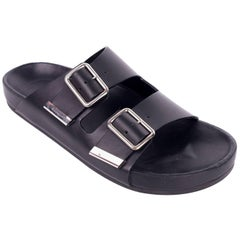 Givenchy Black Leather Silver Accent Swiss Flat Sandals