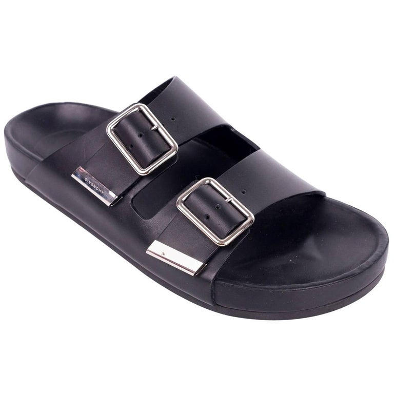 882fd0492401 Givenchy Black Leather Silver Accent Swiss Flat Sandals For Sale at ...