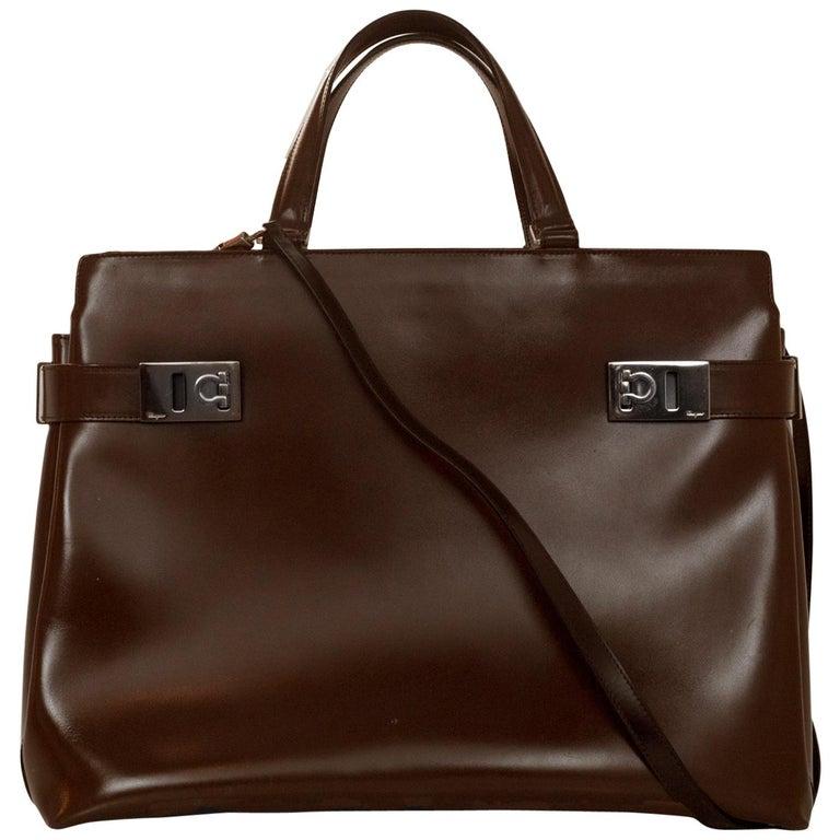 Salvatore Ferragamo Brown Leather Satchel Bag w. Strap