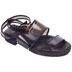 Givenchy Womens Black PVC Strap Leather Trim Sandals
