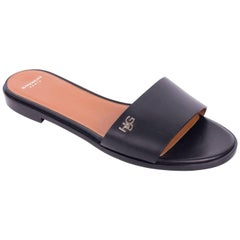 Givenchy Women's Black Leather HDG Flat Slide Sandals