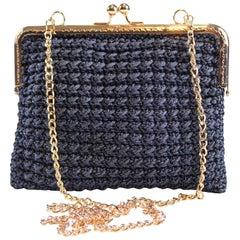 Italian Blue Hand Woven Crossbody Handbag
