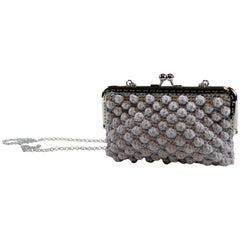 Italian Grey Hand Woven Crossbody Handbag