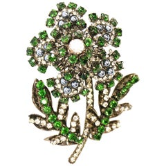"1970s Massive 6"" Lawrence Vrba Green Rhinestone Flower Brooch"