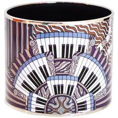 Hermes Purple & Blue Mega Wide Piano Enamel Bangle Bracelet Sz 65