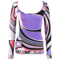 EMILIO PUCCI Pre-Fall 2008 Purple Geometric Signature Knit Bateau Neck Top
