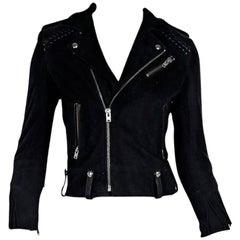 Black IRO Suede & Leather Fringed Jacket
