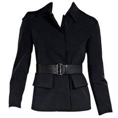Black Prada Nylon Belted Jacket