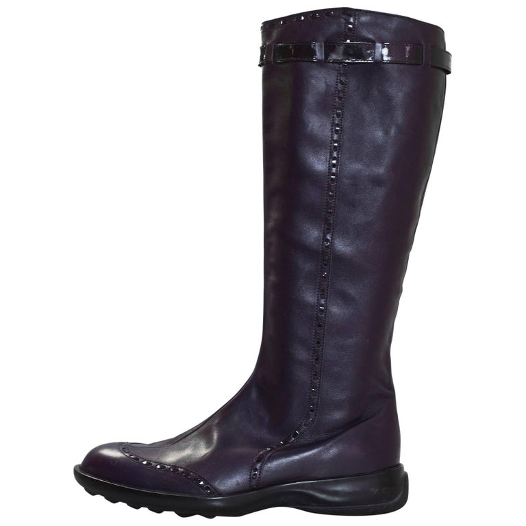 TOD's Purple Leather Boots Sz 38.5