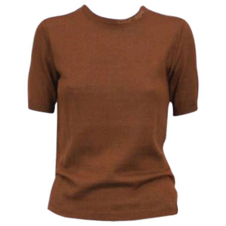 Courreges Brown Knit Logo T