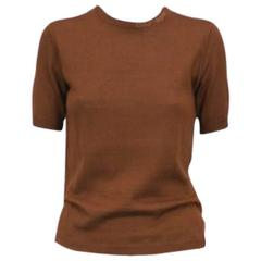 Courreges Brown Knit Logo T