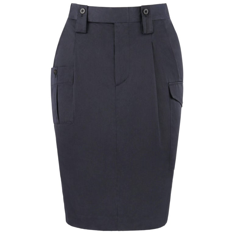 GUCCI S/S 2001 TOM FORD Navy Blue Silk Twill Cargo Pocket Pencil Skirt NWT