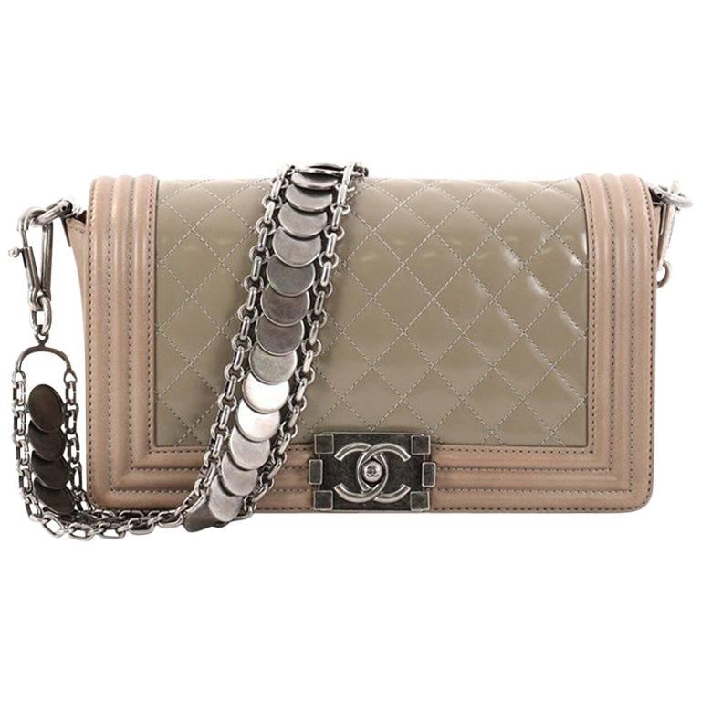 1f695d78a6277d Chanel Medallion Boy Flap Bag Quilted Glazed Calfskin with Leather Old  Medium For Sale