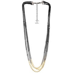 Chanel 2015 Faux Pearl Black to Ivory Gradient Three-Strand Necklace