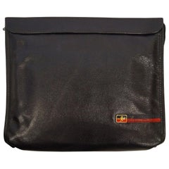 1970s Roberta di Camerino Large Black Pebbled Leather Clutch with Ribbon Detail