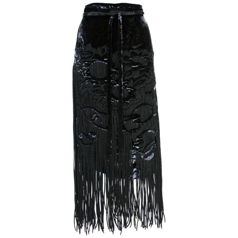New Tom Ford for Yves Saint Laurent F/W 2001 Velvet Fringe Black Skirt  Fr. 38