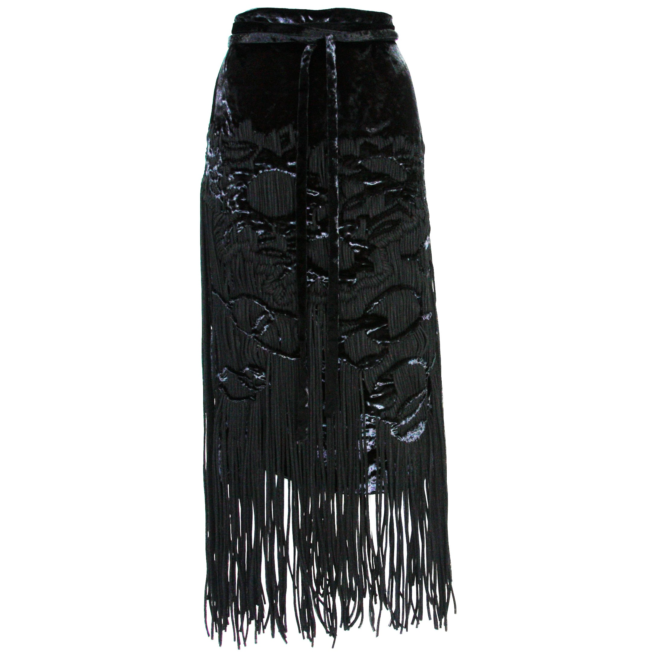 New Tom Ford for Yves Saint Laurent F/W 2001 Velvet Fringe Runway Skirt  Fr. 38