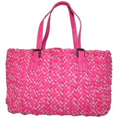 Bottega Veneta Pink Intrecciato Cabat Linen & Leather Tote