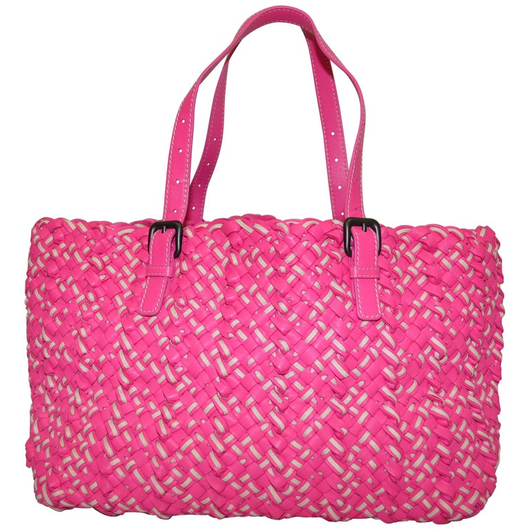 Bottega Veneta Pink Intrecciato Cabat Linen & Leather Tote