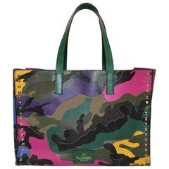 Valentino Camouflage Multicolor Tote Rockstud Bag