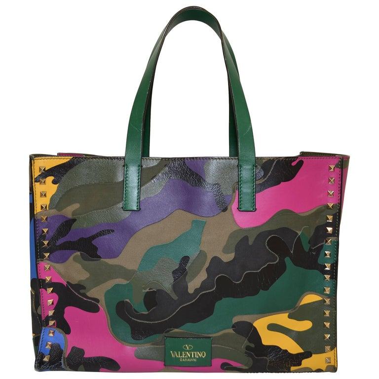 Valentino Camouflage Multicolor Tote Rockstud Bag For